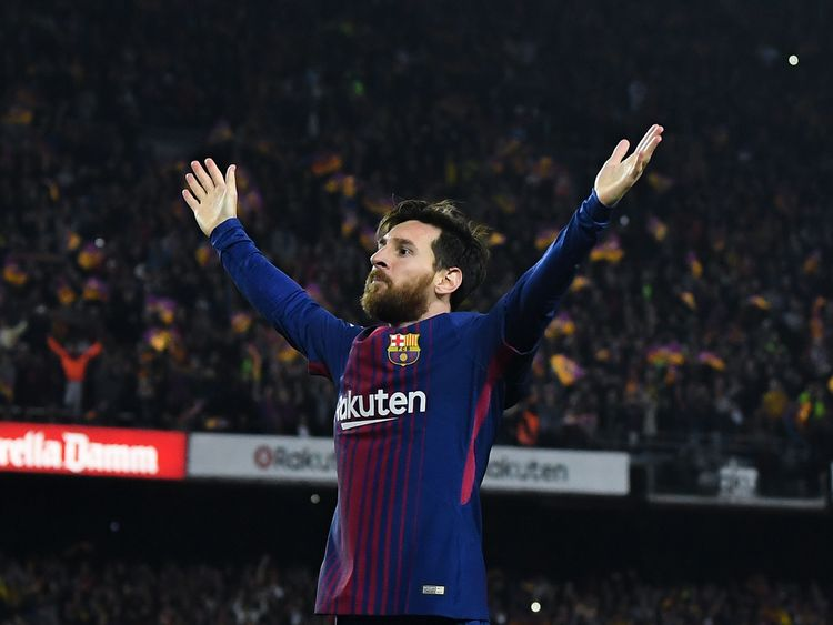 Lionel Messi during the La Liga match between Barcelona and Real Madrid at Camp Nou on May 6, 2018 in Barcelona, .