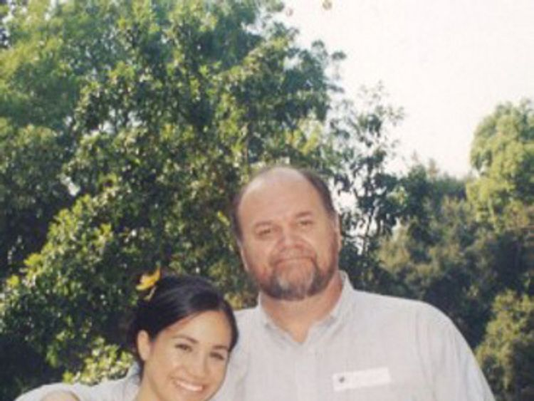Prince Harry's fiancee Meghan Markle in her younger days with her father Thomas Markle