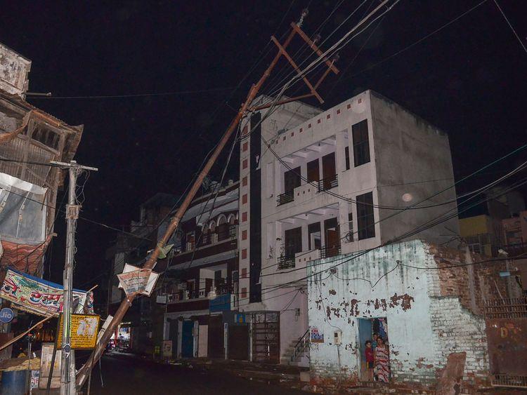 A fallen electricity line in Agra