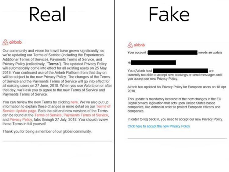 Real and fake emails that used might think are coming from Airbnb. Pic: Redscan