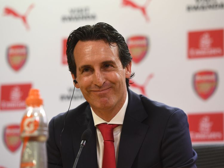 Arsenal Head Coach Unai Emery during his press conference at Emirates Stadium on May 23, 2018 in London, England.