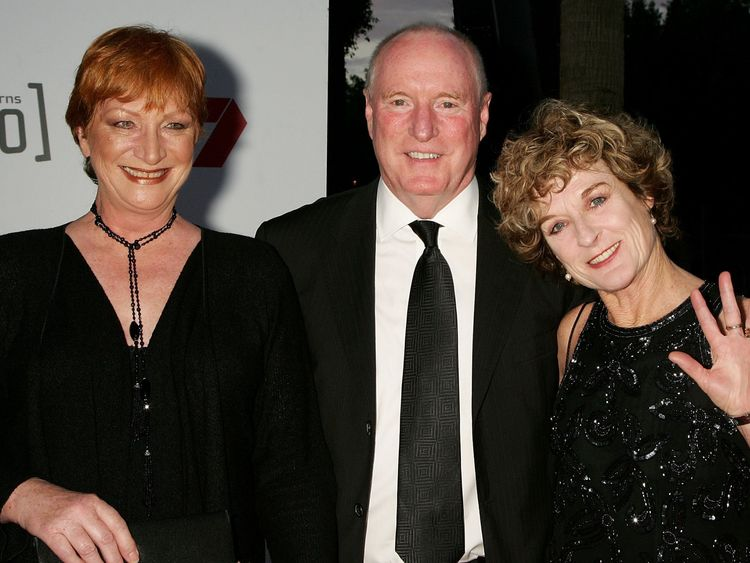SYDNEY, AUSTRALIA - SEPTEMBER 17: Actors Cornelia Frances, Ray Meagher and Judiy Nunn attend Channel Seven's TV Turns 50, The Event That Stopped a Nation, at Star City on September 17, 2006 in Sydney, Australia. (Photo by Patrick Riviere/Getty Images)