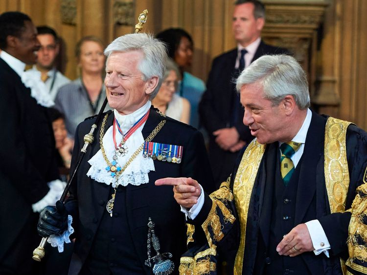 John Bercow and David Leakey at the state opening of parliament in 2017