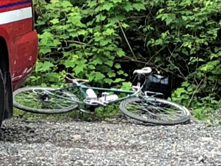 The victim was mountain biking when he was attacked