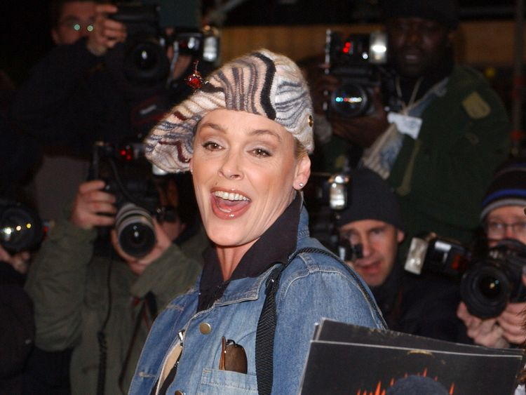 Brigitte Nielsen leaving the Celebrity Big Brother house in 2005.