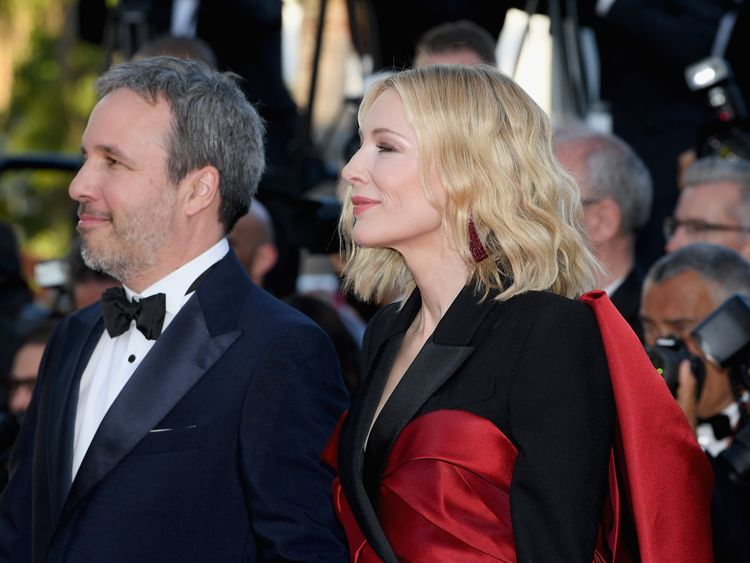 Denis Villeneuve (L) and Cate Blanchett at Cannes film festival