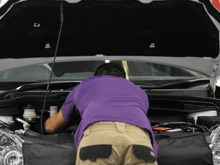 A car mechanic at work