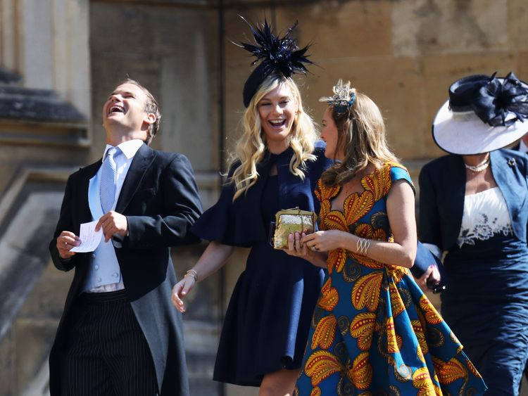 Prince Harry's former girlfriend Chelsy Davy arrives at the wedding