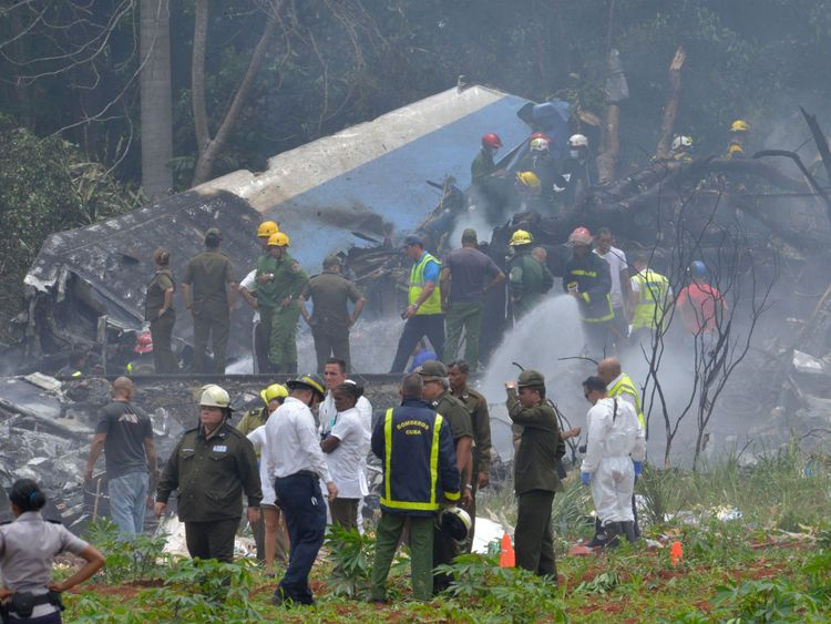 The aircraft crashed after taking off from Havana's Jose Marti airport