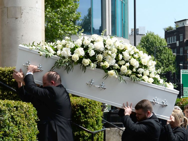 Pall bearers carry the coffin of Supermarket Sweep star Dale Winton