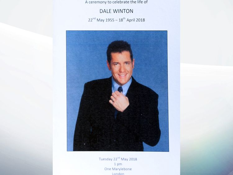Dale Winton's order of service