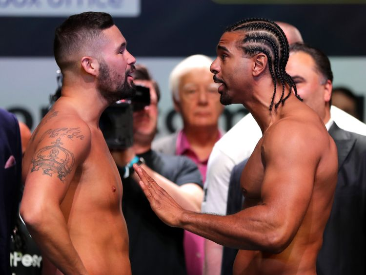 The weigh-in ahead of the heavyweight fight between Tony Bellew and David Haye at the O2