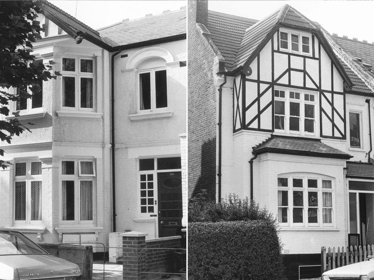 Dennis Nilsen's homes in Cricklewood (L) and Muswell Hill