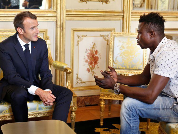 Emmanuel Macron with 'spiderman' hero Mamoudou Gassama