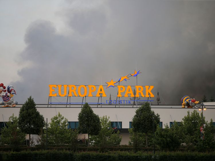 Smoke rises from a fire at the Europa Park in Rust, Germany