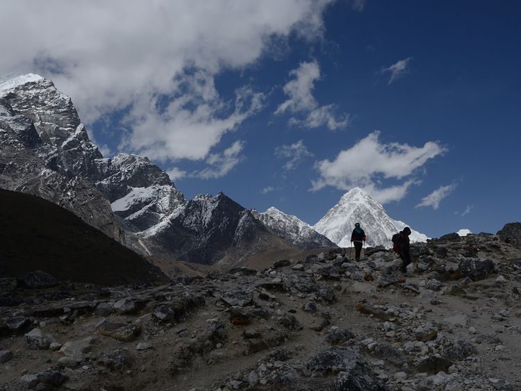 Trekkers walk to Everest Base Camp. File photo