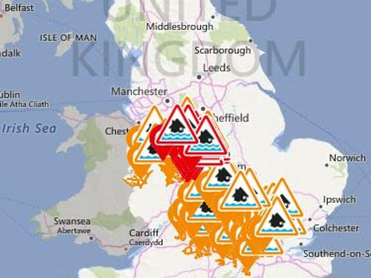 Red flood warnings and orange alerts are in place across the UK