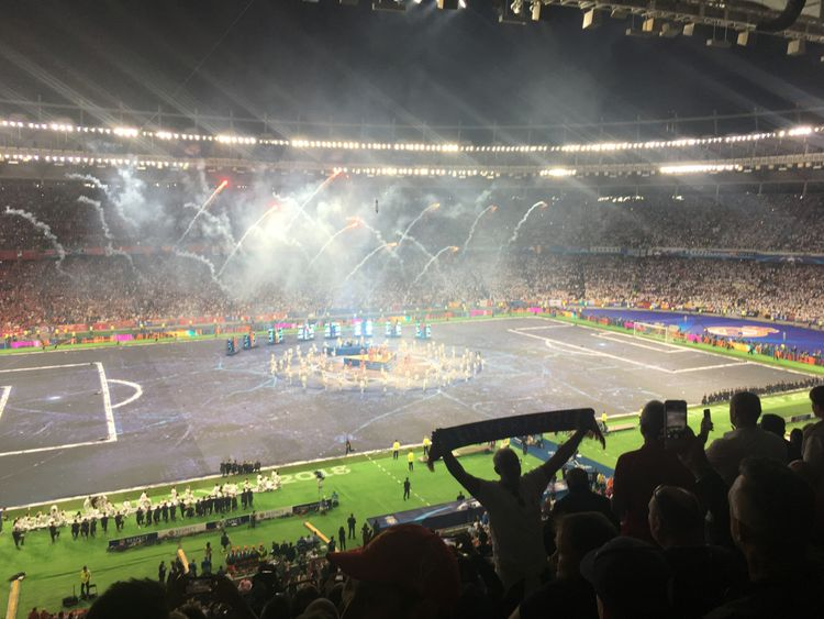 The packed stadium full of fans, fireworks and hopes of glory