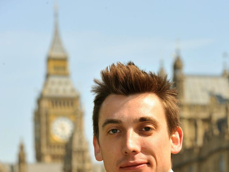 Gavin Shuker the MP for Luton South, outside the Houses of Parliament. 2010