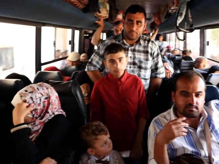 Palestinians on a bus to Egypt, after the border was opened as a rare gesture from Egypt