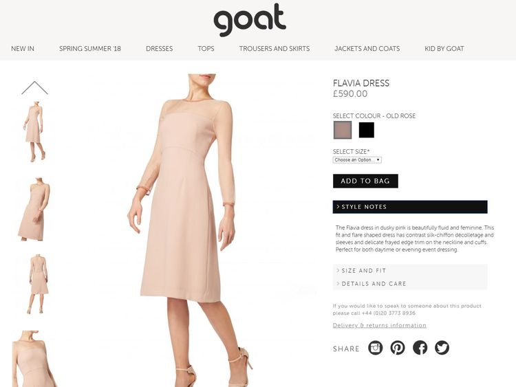 The website shows the dress is also available in black