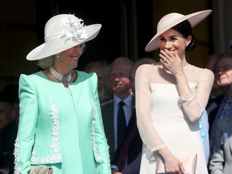 Meghan collapses into giggles as Harry struggles to speak after a bee flies nearby