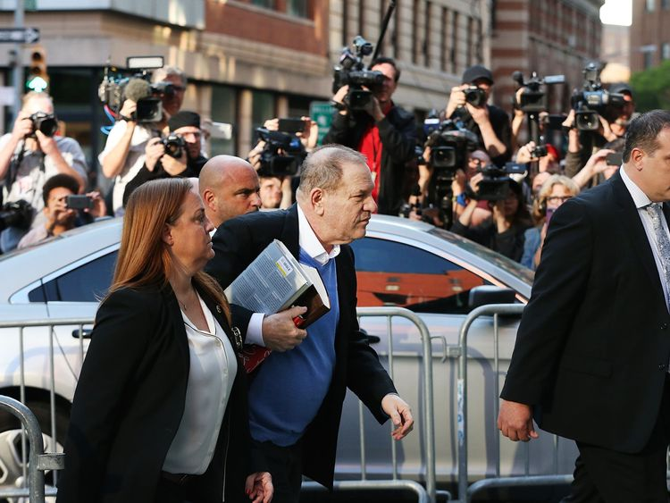 Harvey Weinstein arrives at the New York Police Department's First Precinct to turn himself in after being served with criminal charges by the Manhattan District Attorney's office on May 25, 2018 in New York City