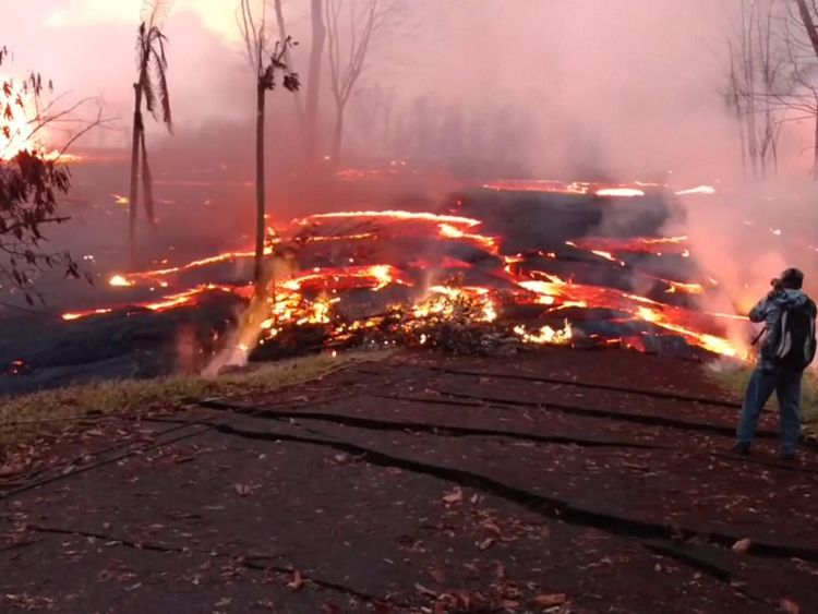 The lava flows are moving at up to 300 metres per hour