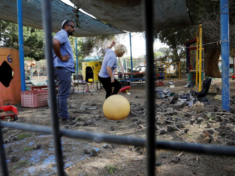 A kindergarten yard that Israel says was damaged by mortar shells