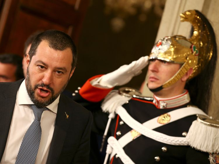 League party leader Matteo Salvini leaves after a meeting with Italian President Sergio Mattarella during the second day of consultations at the Quirinal Palace in Rome, Italy, April 5, 2018.
