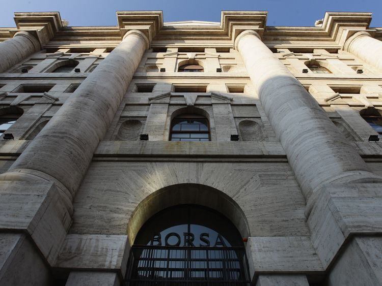 A general view of Palazzo Mezzanotte, head office of the Borsa Italiana (Milan Stock Exchange) on November 17, 2011 in Milan, Italy.