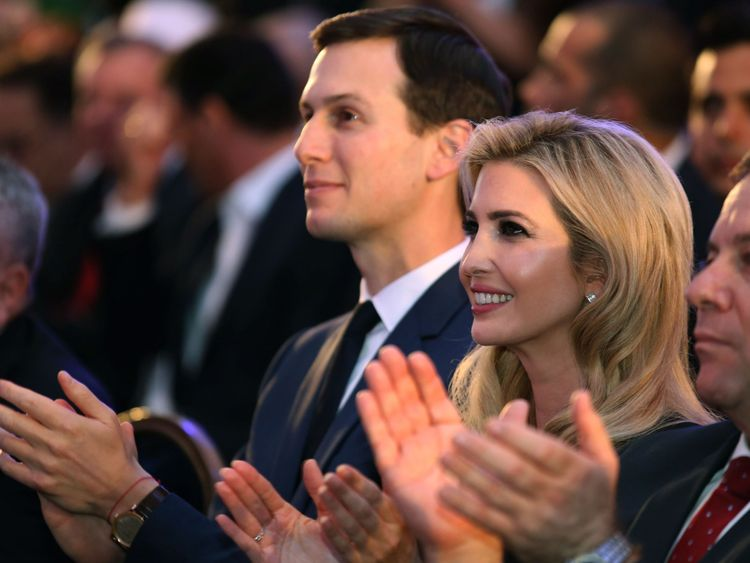 US President's daughter Ivanka Trump (C) and her husband senior White House adviser Jared Kushner (L) attend the official reception on the occasion of the opening of the US Embassy at ?the Ministry of Foreign Affairs in Jerusalem, on May 13, 2018