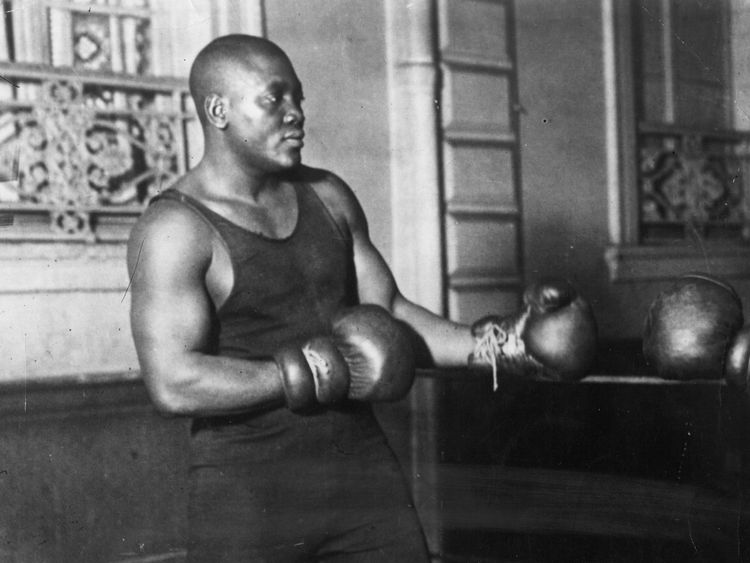 Johnson sparring as he prepares for a fight