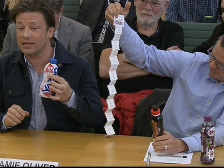 Jamie Oliver and Hugh Fearnley-Whittingstall giving evidence to MPs on obesity.