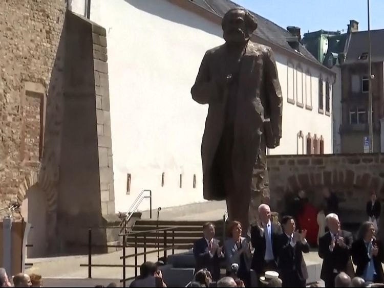 The statue is unveiled