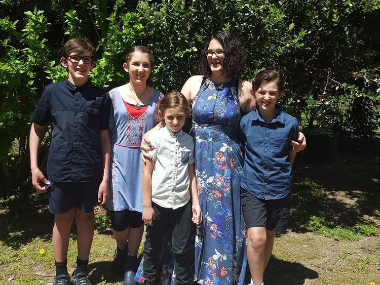 Katrina Miles with her four children. Pic: Facebook