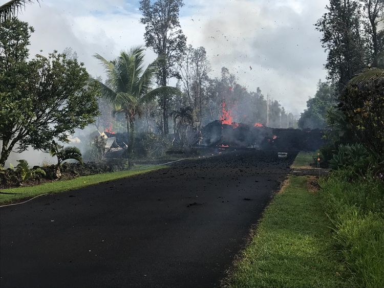 Kilauea volcano in Hawaii has spewed lava onto this street. Pic: US Geological Survey