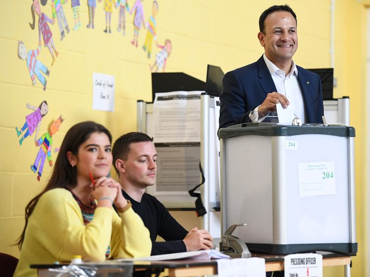 Mr Varadkar was up early to cast his vote in Dublin