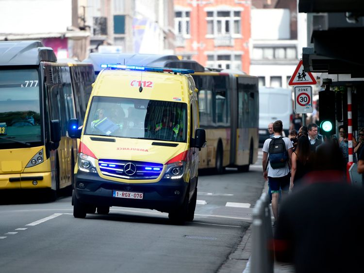 An ambulance at the scene of the shooting in Liege