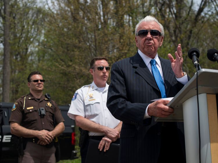 William Dwyer, the Commissioner of the Warren, Michigan Police, discusses the progress of a reopened cold case during a press conference on May 9, 2018 in Macomb, Michigan