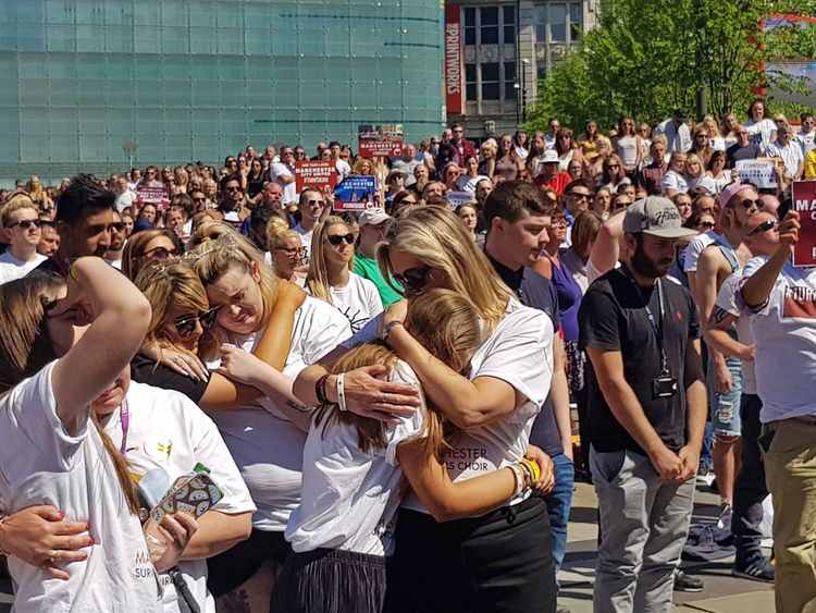 The people of Manchester observed a minute's silence in Cathedral Gardens