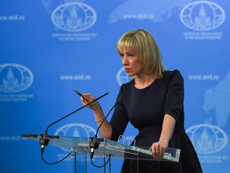 Russian Foreign Ministry spokeswoman Maria Zakharova speaks to the media in Moscow on March 29, 2018. / AFP PHOTO / Yuri KADOBNOV (Photo credit should read YURI KADOBNOV/AFP/Getty Images)