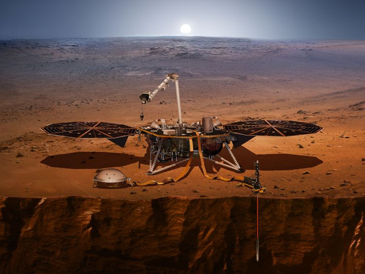 An artist's impression of the InSight Lander on Mars. Pic: NASA/JPL-CALTECH