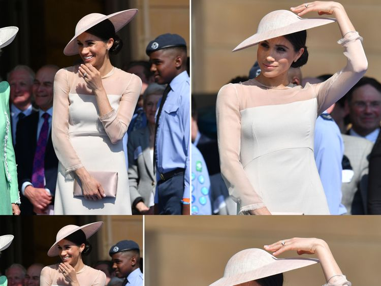 Meghan completed the outfit with a clutch bag, wide brimmed hat and dusty pink heeled shoes