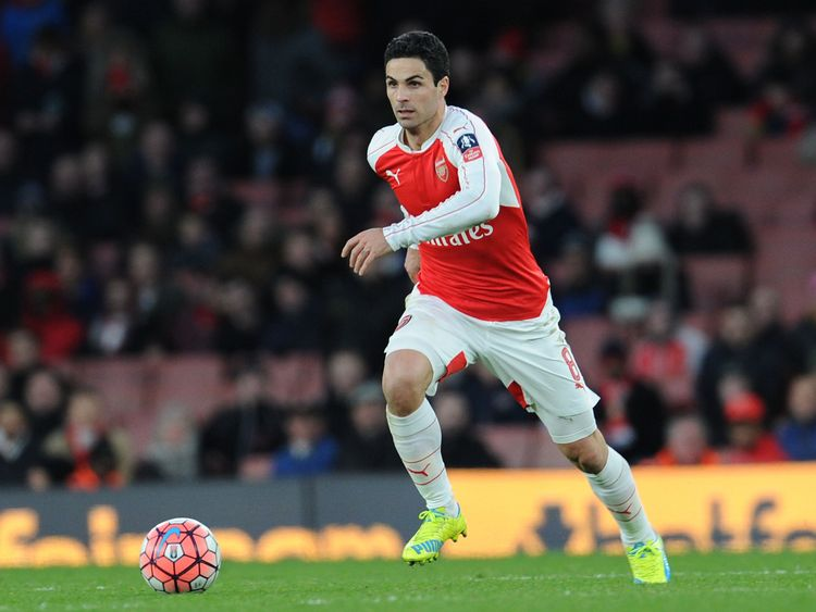 Mikel Arteta pictured during his spell in midfield at Arsenal two years ago