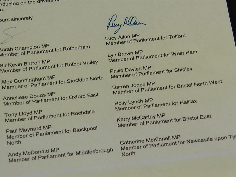 A group of cross-party MPs have signed the letter to Sajid Javid