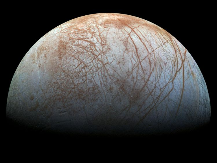 A view of Europa created from images taken by NASA's Galileo spacecraft in the late 1990s. Credits: NASA/JPL-Caltech/SETI Institute