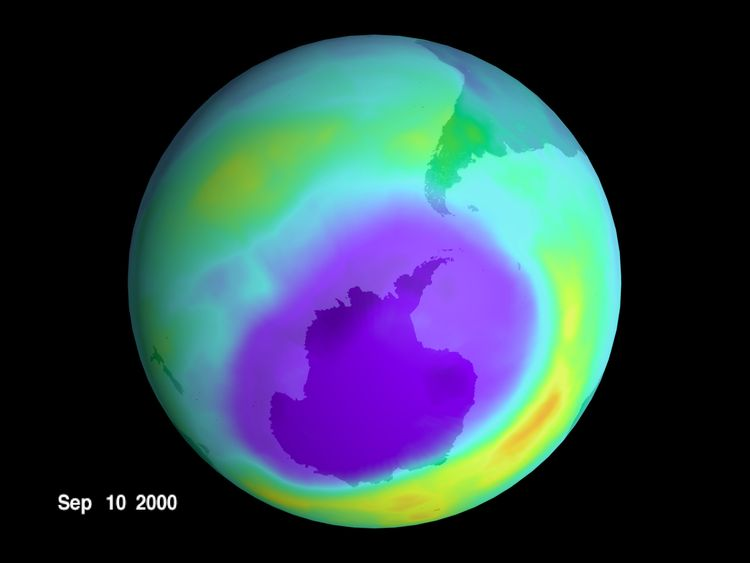 379637 01: Scientists at NASA said they have located the largest ozone hole ever recorded. In a report released October 3, 2000, the Goddard Space Flight Center in Greenbelt, MD said satellites have observed an 11.5 million square-mile hole, a severe thinning of Earth's protective ozone layer, last month over Antarctica. The area is approximately three times the size of the United States. (Photo by Newsmakers)