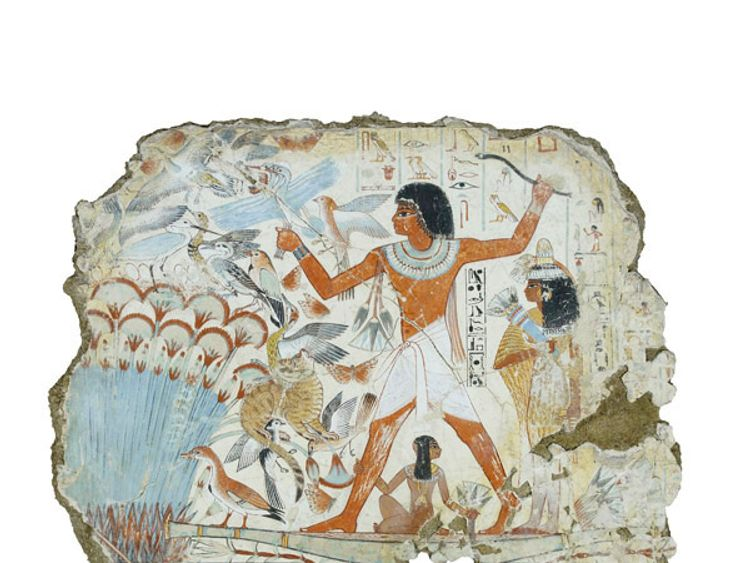 The boots will be near the Nebamun hunting in the marshes, fragment of a scene from the tomb-chapel of Nebamun, around 1350 BC