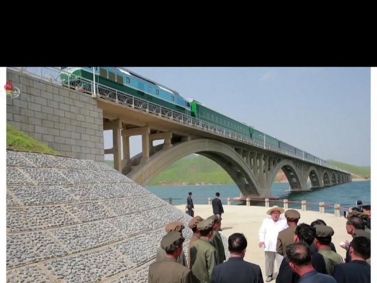 Kim Jong Un inspects a railway bridge